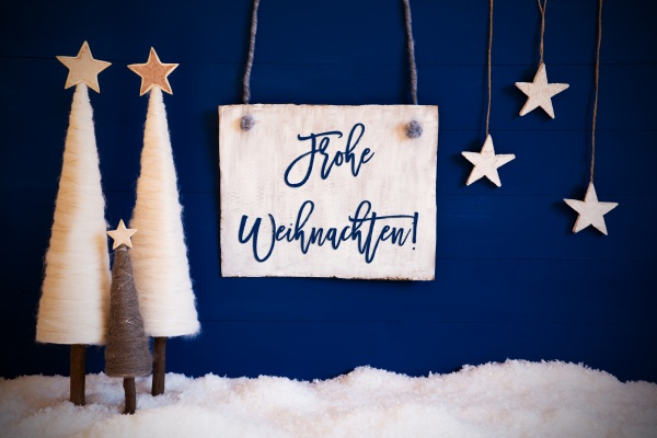 christmas tree blue background snow frohe