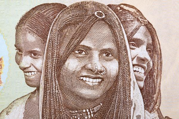 triptych of portraits eritrea women from