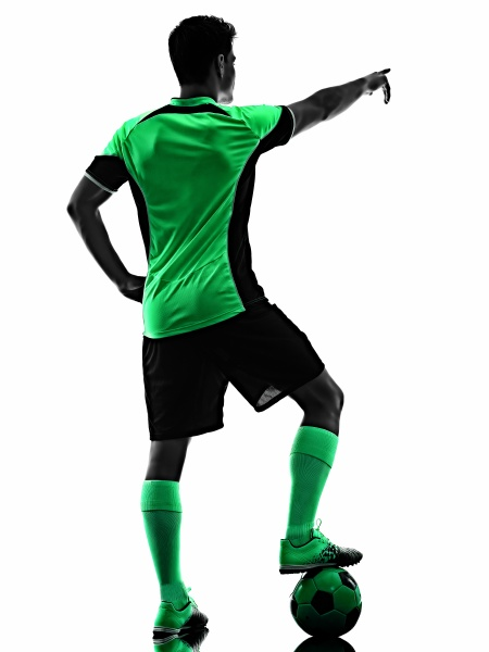 young soccer player man silhouette shadow