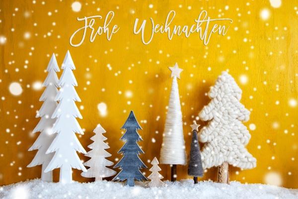 trees snowflakes yellow background