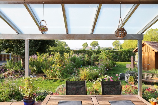 terrace with glass roofing and a