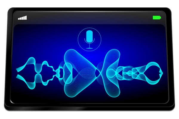 tablet computer with glossy blue voice