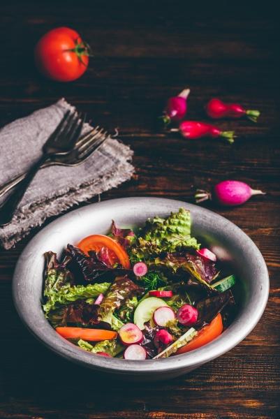 fresh spring salad with homegrown vegetables