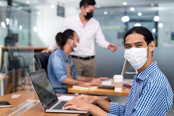 asain employee face mask in new