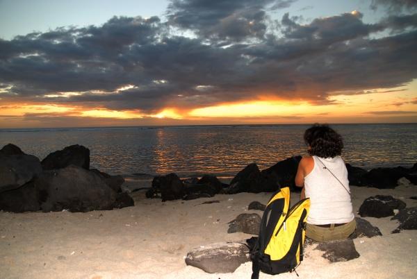 sunrise over sea island of reunion