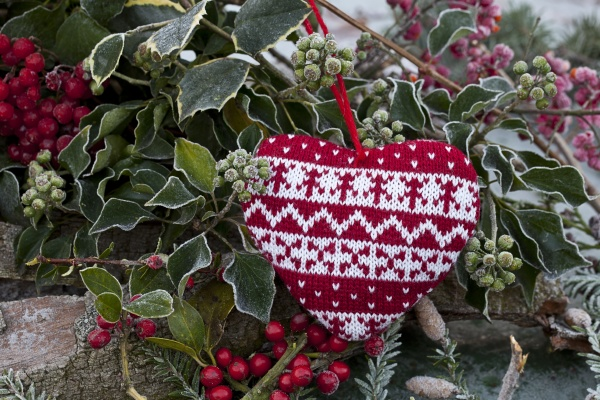 outdoor christmas decoration with berries and