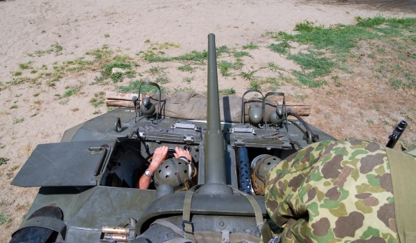 inside in the military tank weapons