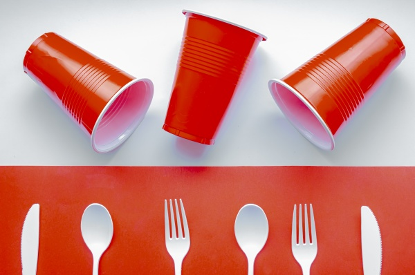 single use white plastic cutlery and
