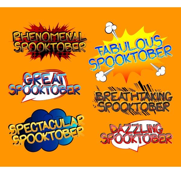 spooktober comic book style cartoon words