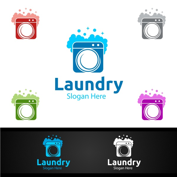laundry dry cleaners logo with clothes