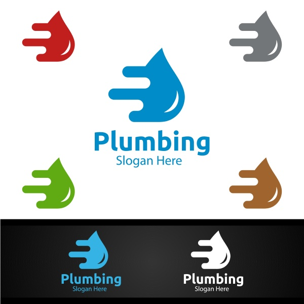 fast plumbing logo with water and