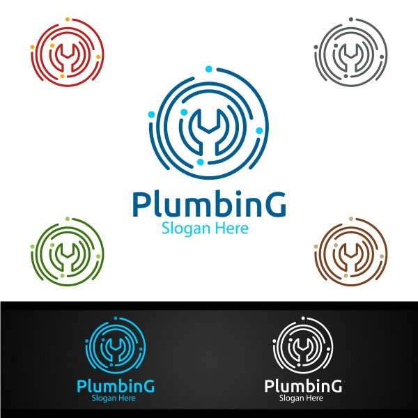 wrench plumbing logo with water and