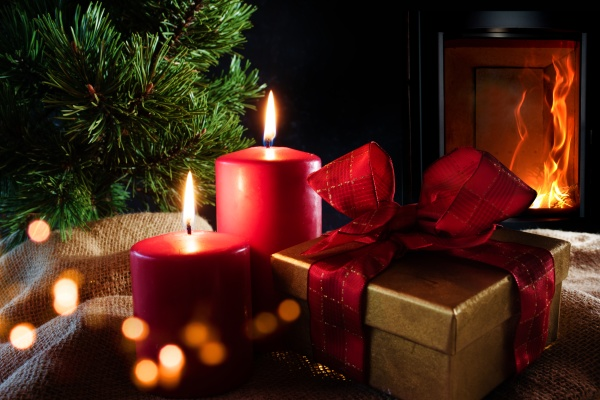 christmas decorations with log fire