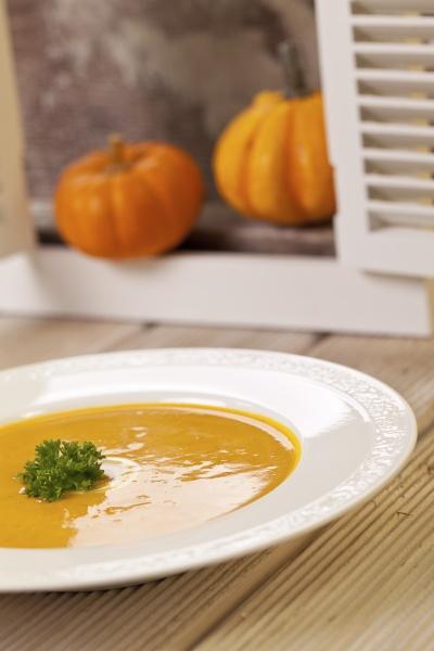 fresh homemade organic pumpkin soup