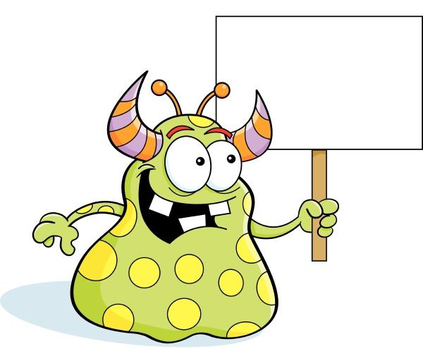 cartoon illustration of an alien holding