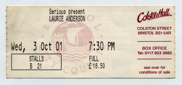 laurie anderson concert ticket