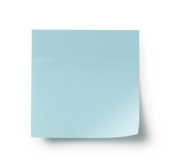blue sticky notes on a white