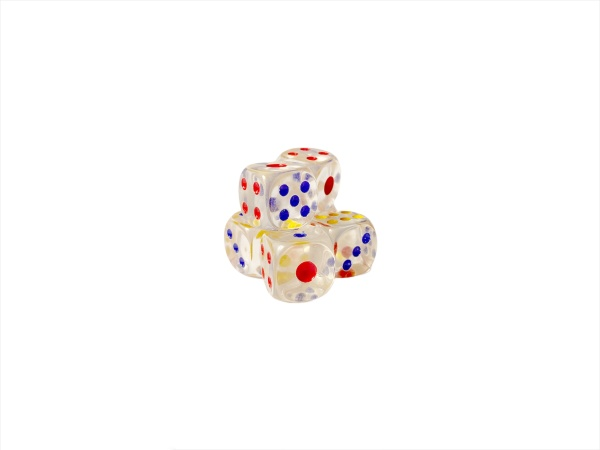 dice on white background selective focus