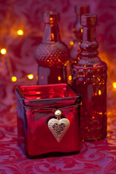 elegant red xmas still life with