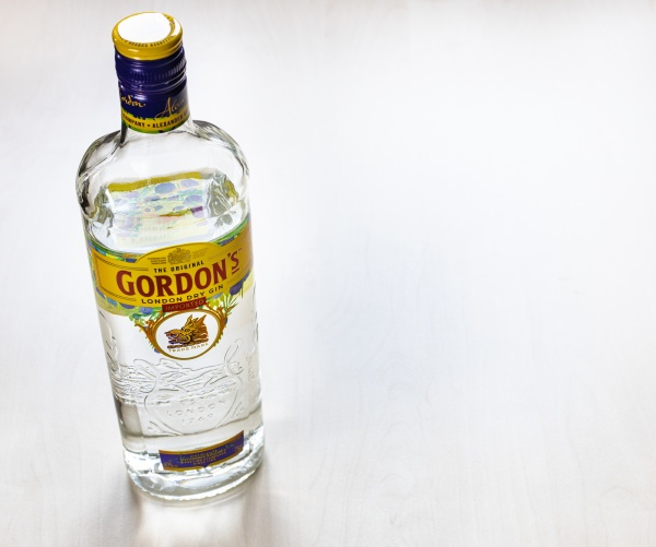 above view of bottle of gordons