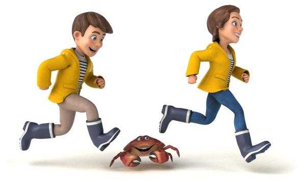 fun 3d illustration of cartoon kids