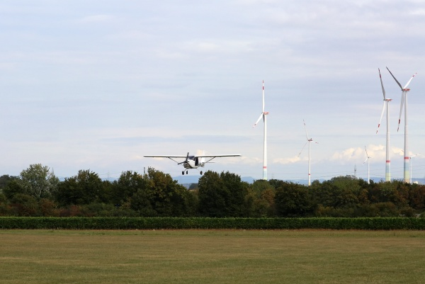 small aircraft and wind farm