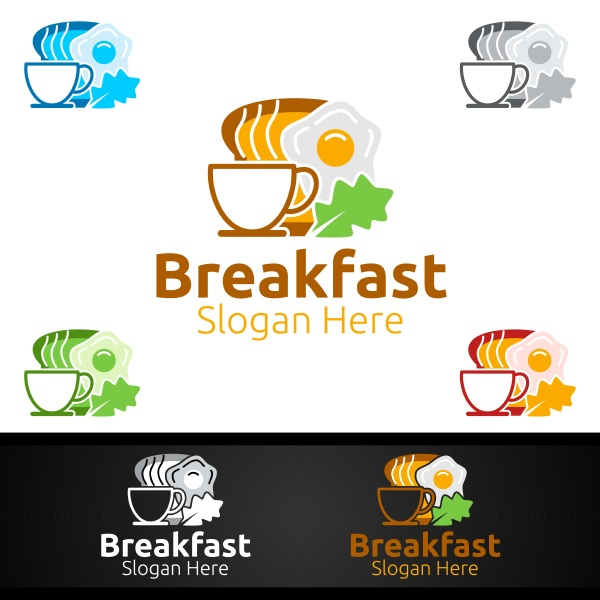 fast food breakfast delivery service logo