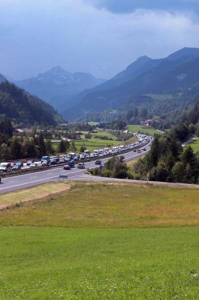 freeway or highway traffic jam