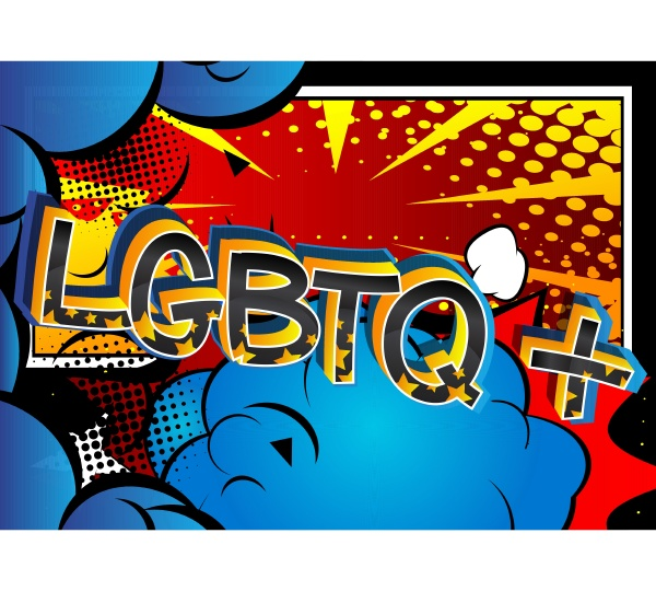 super lgbtq comic book style cartoon
