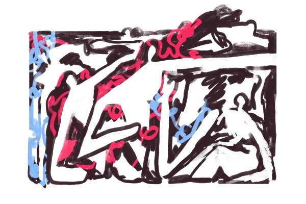 abstract graffiti paint with people rough