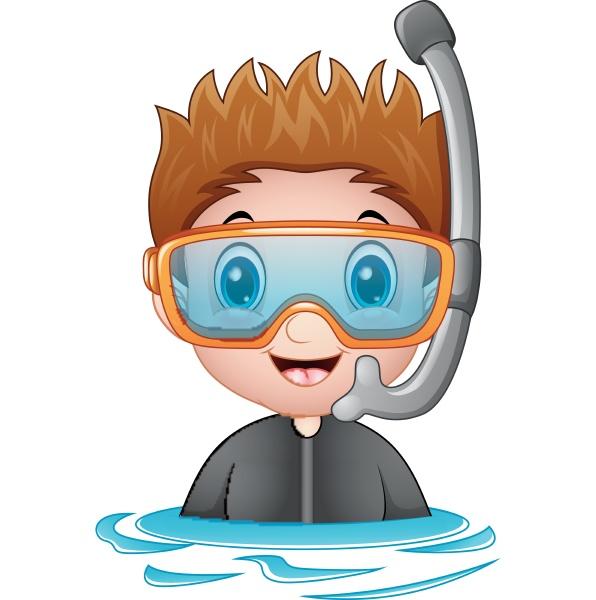 vector illustration of snorkeling boy cartoon
