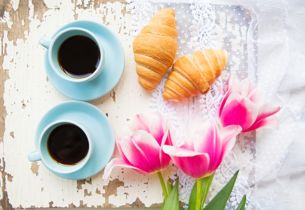 nice cup of coffee croissants