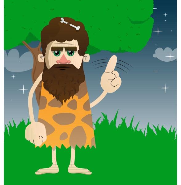 caveman saying no with his finger