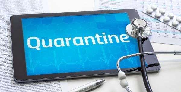 the word quarantine on the display