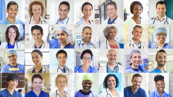 portrait smiling doctors and nurses video