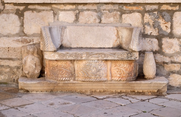 stone bench in front of the