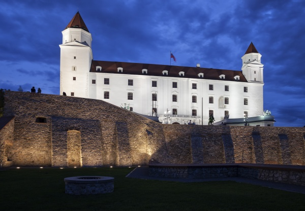 slovakia bratislava bratislava castle illuminated at