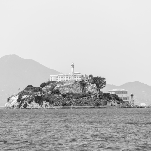 waterfront with alcatraz island in background