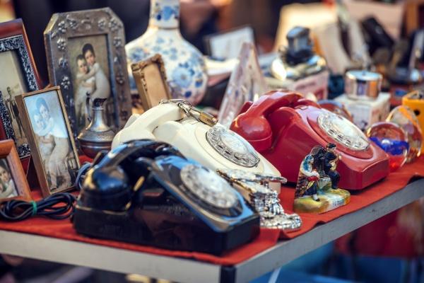 portugal lisbon old telephones at feira