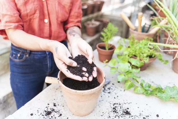 close up of woman with soil