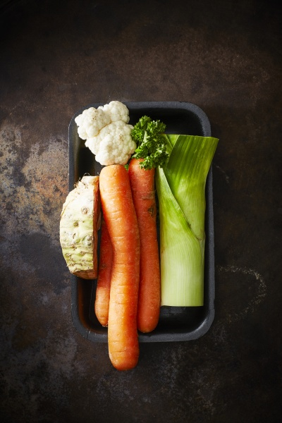 mirepoix parsley carrots cauliflower celeriac and