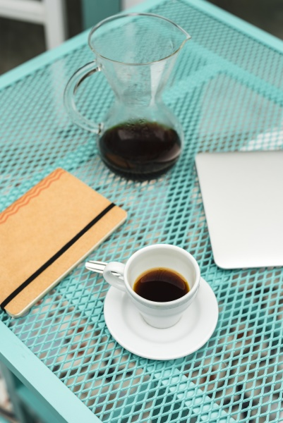 notepad laptop coffee cup and pot