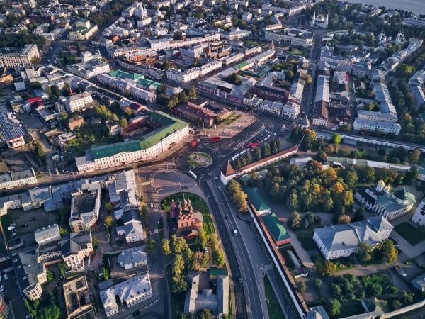 aerial view of yaroslavl city on
