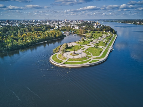 park on river by city against