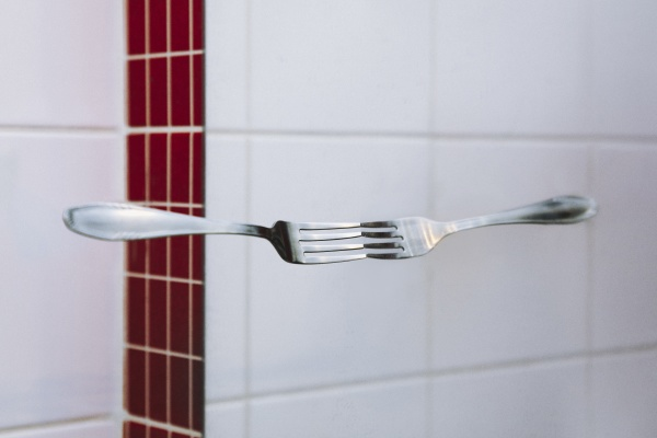 symmetric reflection of fork on mirror