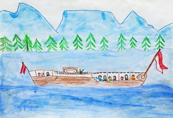 childs drawing of tourboat on lake