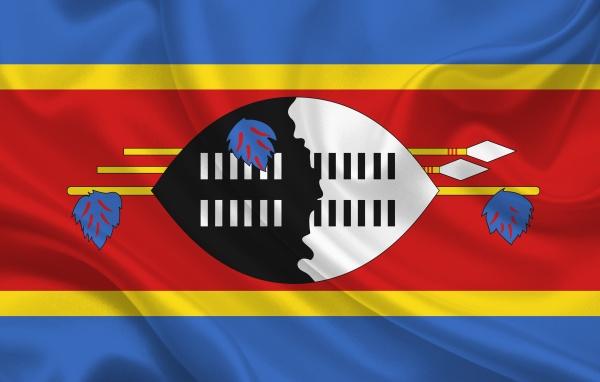 swaziland country flag on wavy silk