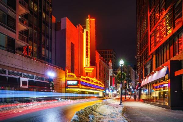 boston city center at nighttime