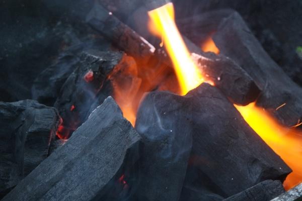 fire on logs in fire pot