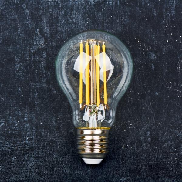 led lamp bulb transparent close up